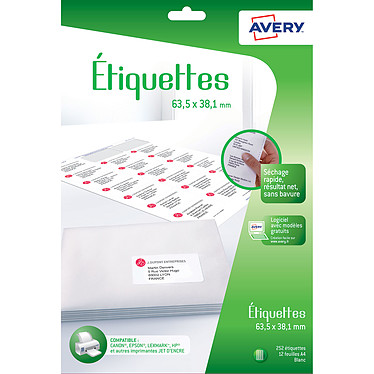 Avery Etiquettes d'adresse 63.5 x 38.1 mm x 252