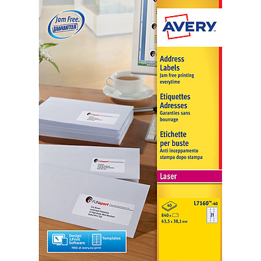 Avery Etiquettes adresse 63.5 x 38.1 mm x 840