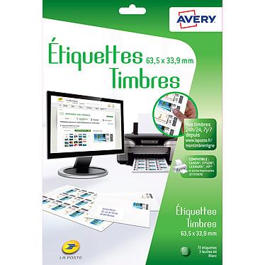 Avery Etiquettes pour timbres à imprimer 63.5 x 33.9 mm x 72