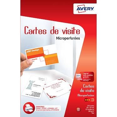Avery Quick&Clean 250 cartes de visite 85 x 54 mm cartes de visite microperforées, mates, Jet d'Encre, 185g/m²