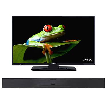 """Hitachi 32F501HB1C01 + AXS014BTU Téléviseur LED HD 31.5"""" (80 cm) 16/9 - 1366 x 768 pixels - TNT et Câble HD - HDTV - 100 Hz + Barre de son 2.0 Bluetooth"""