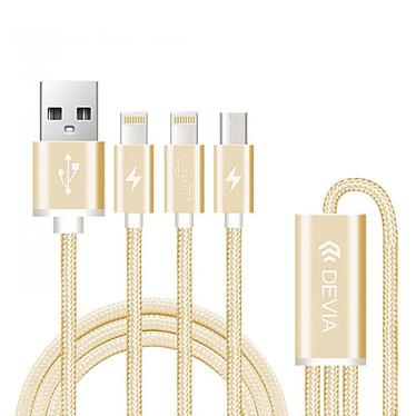 Devia Câble Premium 3-en-1 USB/Lightning Or