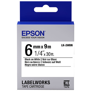 Epson LK-2WBN blanco/negro Cinta estándar de 6 mm x 9 m negro sobre blanco para la etiquetadora Epson