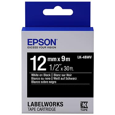 Epson LK-4BWV blanc/noir  Ruban brillant 12 mm x 9 m blanc sur noir pour étiqueteuse Epson