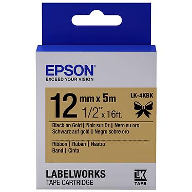 Epson LK-4KBK noir/or Ruban satin 12 mm x 5 m noir sur or pour étiqueteuse Epson