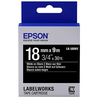 Epson LK-5BWV blanc/noir Ruban brillant 18 mm x 9 m blanc sur noir pour étiqueteuse Epson
