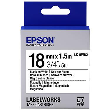 Epson LK-6WB2 noir/blanc  Ruban magnétique 18 mm x 1.5 m noir sur blanc pour étiqueteuse Epson