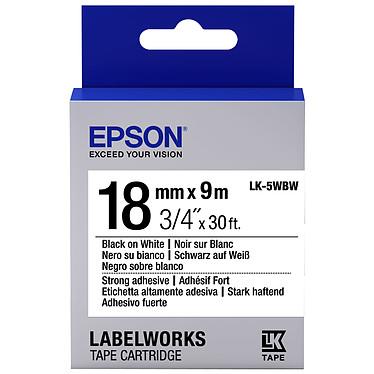 Epson LK-5WBW noir/blanc  Ruban adhésif fort 18 mm x 9 m noir sur blanc pour étiqueteuse Epson