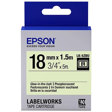 Epson LK-5ZBU noir/phosphorescent  Ruban phosphorescent 18 mm x 1.5 m texte noir pour étiqueteuse Epson