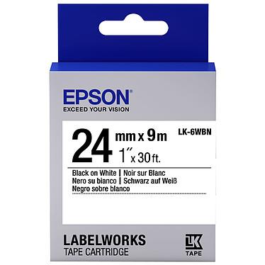 Epson LK-6WBN noir/blanc  Ruban standard 24 mm x 9 m noir sur blanc pour étiqueteuse Epson