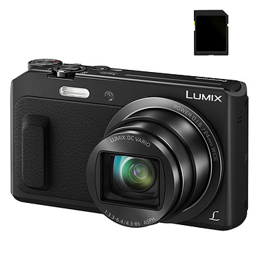 Panasonic DMC-TZ57 negro SD Pack Cámara de 16 MP - Zoom óptico 20x - Vídeo Full HD - Wi-Fi + tarjeta SD de 8GB