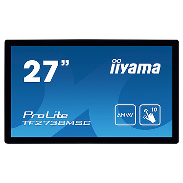"iiyama 27"" LED Tactile - ProLite TF2738MSC-B1 1920 x 1080 pixels - Tactile MultiTouch - 5 ms - Format large 16/9 - Dalle AMVA+ - HDMI - DisplayPort - Noir - Sans pied"