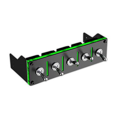 Lamptron Hummer Negro/Verde Interruptores externos para ventiladores y luces de neón (5 vías)