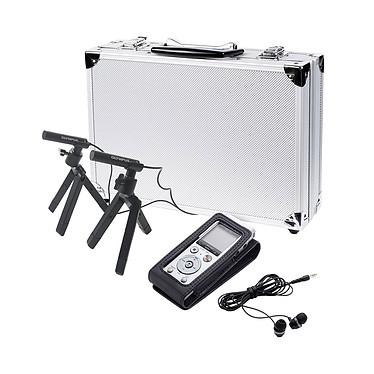 Olympus DM-720 Kit de conférence Dictáfono con 3 micrófonos Tresmic, 4 GB, ranura para micrófono, USB retráctil, clip y soporte + 2 micrófonos ME-30W + Estuche + Estuche + Auricular + Auriculares + Auriculares
