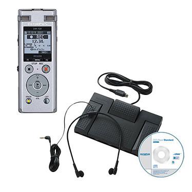 Olympus Kit Dictée  Dictaphone DM-720 avec 3 microphones Tresmic, 4 Go, lecteur de carte microSD, connecteur USB rétractable, clip et support + Kit de transcription AS-2400