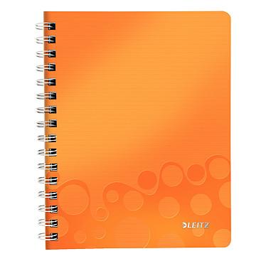 Leitz WOW Cahier Spirale 160p A5 petits carreaux Orange Cahier à spirale intégrale latérale 14.8 x 21 cm 160 pages petits carreaux 5 x 5 mm coloris orange