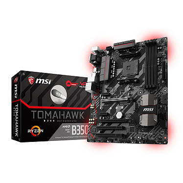 MSI B350 TOMAHAWK Carte mère ATX Socket AM4 AMD B350 - 4x DDR4 - SATA 6Gb/s + M.2 - USB 3.0 - 1x PCI-Express 3.0 16x - LED
