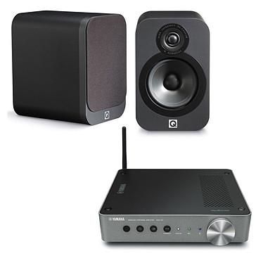 Yamaha MusicCast WXA-50 + Q Acoustics 3020 Graphite Passerelle MusicCast amplifiée Wi-Fi Bluetooth DLNA et AirPlay + Enceinte bibliothèque compacte (par paire)