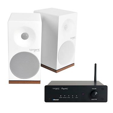 Tangent Ampster BT + Spectrum X4 Blanc Amplificateur stéréo intégré 2 x 50 W Bluetooth + Enceinte bibliothèque compacte (par paire)