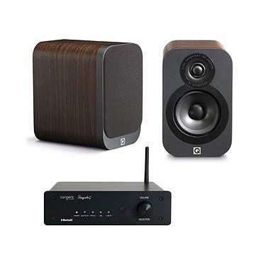 Tangent Ampster BT + Q Acoustics 3010 Bois Amplificateur stéréo intégré 2 x 50 W Bluetooth + Enceinte bibliothèque compacte (par paire)