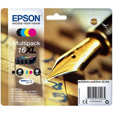Epson Stylo à plume Multipack 16 XL Pack de 4 cartouches d'encre haute capacité noire, cyan, magenta, jaune (950 pages à 5%)