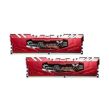 G.Skill Flare X Series Rouge 16 Go (2x 8 Go) DDR4 2400 MHz CL16 Kit Dual Channel 2 barrettes de RAM DDR4 PC4-19200 - F4-2400C16D-16GFXR