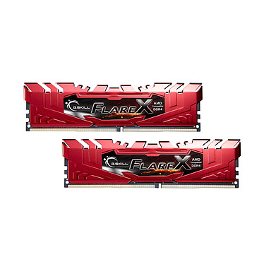 G.Skill Flare X Series Rouge 32 Go (2x 16 Go) DDR4 2400 MHz CL16 Kit Dual Channel 2 barrettes de RAM DDR4 PC4-19200 - F4-2400C16D-32GFXR