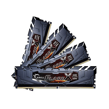 G.Skill Flare X Series 64 Go (4x 16 Go) DDR4 2400 MHz CL16 Kit Quad Channel 4 barrettes de RAM DDR4 PC4-19200 - F4-2400C16Q-64GFX