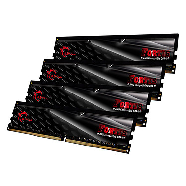 G.Skill Fortis Series 32 Go (4x 8 Go) DDR4 2400 MHz CL15 Kit Quad Channel 4 barrettes de RAM DDR4 PC4-19200 - F4-2400C15Q-32GFT