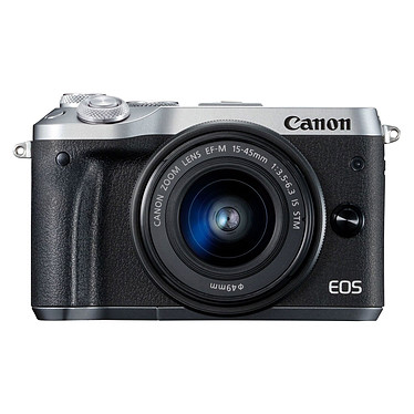 "Canon EOS M6 Argent + EF-M 15-45 mm IS STM Appareil photo 24.2 MP - Vidéo Full HD 60p - Dual AF - Ecran LCD tactile inclinable 3"" - Wi-F/NFC - Bluetooth (boîtier nu) + Objectif EF-M 15-45 mm IS STM"