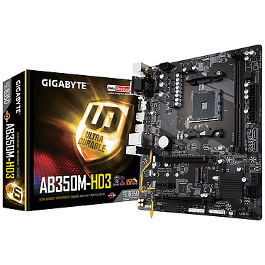 Gigabyte GA-AB350M-HD3 Micro Enchufe ATX AM4 AMD B350 Micro Enchufe ATX Placa base AM4 - 2x DDR4 - SATA 6Gb/s + M.2 - USB 3.1 - 2 x PCI-Express 3.0 16x (16x/4x)