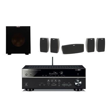 Yamaha RX-V481 Noir + Klipsch Quintet + Klipsch R-10SW Ampli-tuner Home Cinéma 5.1 3D avec HDMI 2.0, HDCP 2.2, Ultra HD 4K, Wi-Fi, Bluetooth, AirPlay et MusicCast + Pack d'enceintes 5.0 (4 enceintes satellites + 1 enceinte centrale) + Caisson de grave 150 Watts