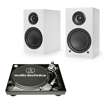 Audio-Technica AT-LP120USBC Noir + Triangle Elara LN01A Blanc mat