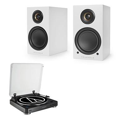 Audio-Technica AT-LP60BT Noir + Triangle Elara LN01A Blanc mat