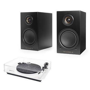 Elipson Omega 100 RIAA Blanc + Triangle Elara LN01A Noir mat Platine vinyle à 2 vitesses (33-45 trs/min) avec pré-ampli intégré + Enceinte sans fil Hi-Fi Bluetooth (par paire)