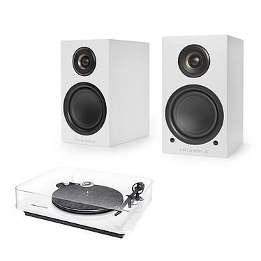 Elipson Omega 100 RIAA BT Blanc + Triangle Elara LN01A Blanc mat Platine vinyle à 2 vitesses (33-45 trs/min) avec pré-ampli intégré, Bluetooth aptX et sortie USB + Enceinte sans fil Hi-Fi Bluetooth (par paire)