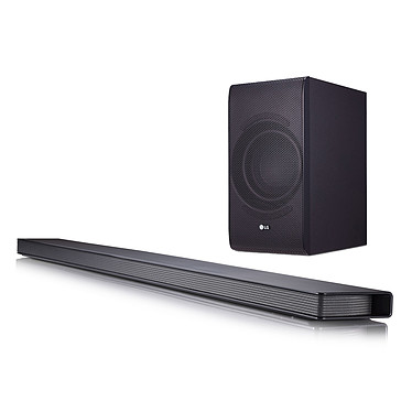 LG SJ8 Barre de son 4.1 300W - Hi-Res Audio - Wi-Fi - Bluetooth - HDMI - Multiroom - 4K Pass Through - Caisson de basses sans fil