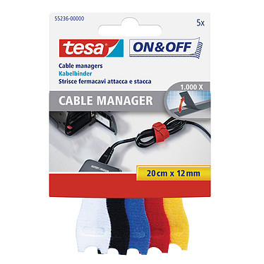 tesa ON&OFF Cable Manager Small (5 pièces) 0,2m x 12mm - 5 couleurs