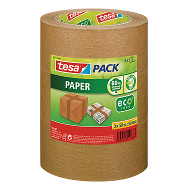 tesa Ecologo Ruban adhésif Papier Kraft 50m x 50mm x 3 Lot de 3 rubans adhésif en papier Kraft marron 50 m x 50 mm