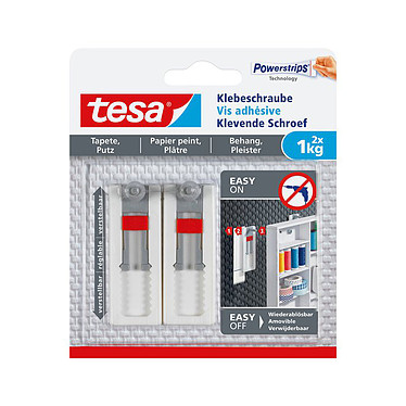 tesa Vis adhésive ajustable - 1kg Vis adhésive pour papier peint et plâtre - 1kg