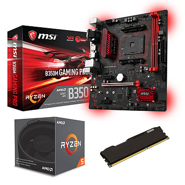 Kit Upgrade PC AMD Ryzen 5 1600 MSI B350M GAMING PRO 8 Go Carte mère Micro-ATX Socket AMD B350 + CPU AMD Ryzen 5 1600 Wraith Spire Edition (3.2 GHz) + RAM 8 Go