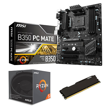 Kit Upgrade PC AMD Ryzen 5 1600 MSI B350 PC MATE 8 Go Carte mère ATX Socket AMD B350 + CPU AMD Ryzen 5 1600 Wraith Spire Edition (3.2 GHz) + RAM 8 Go