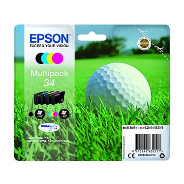 Epson Balle de Golf Multipack 34 Pack de 4 cartouches couleurs d'encre noir cyan, magenta, jaune (350 pages à 5%)