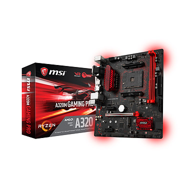 MSI A320M GAMING PRO Carte mère Micro ATX Socket AM4 AMD A320 - 2x DDR4 - SATA 6Gb/s + M.2 - USB 3.1 - 1x PCI-Express 3.0 16x - LED