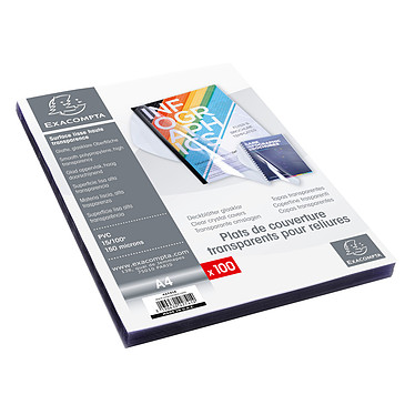 Exacompta Plat de couverture transparent A4 x 100 Lot de 100 couvertures de présentation et de protection en PVC 10/100e Transparent