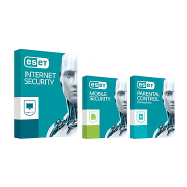 ESET Internet Security 2017 + Mobile Security + Control parental (1 año 1 posición) Paquete de seguridad completo + Antivirus + Control parental - 1 año de licencia 1 estación de trabajo (francés, Windows, Android)