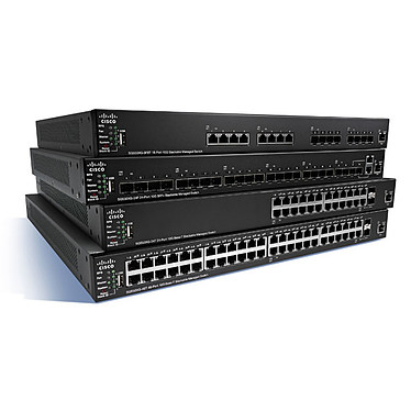 Cisco SG350X-24MP (SG350X-24MP-K9-EU) Switch Small Business Stackable Gigabit 24 ports 10/100/1000 PoE+ avec 4 x 10 Gigabit Ethernet (2 x 10GBase-T/SFP  combo   2 x SFP )