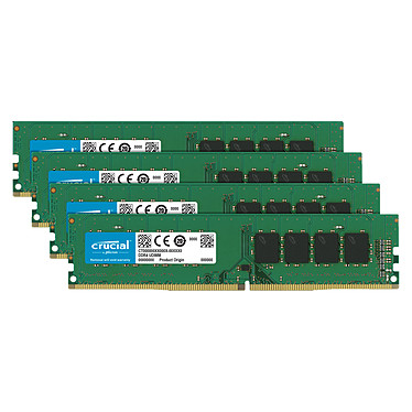 Crucial DDR4 64 Go (4 x 16 Go) 2666 MHz CL19 Dual Rank X8 Quad Channel RAM DDR4 PC4-21300 - CT4K16G4DFD8266 Quad Channel Kit (10 años de garantía de Crucial)