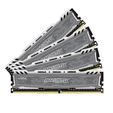 Ballistix Sport LT 64 Go (4 x 16 Go) DDR4 2666 MHz CL16 Kit Quad Channel RAM DDR4 PC4-21300 - BLS4C16G4D26BFSB (garantie 10 ans par Crucial)