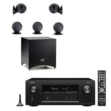 Denon AVR-X2400H Noir + Cabasse Alcyone 2 Pack 5.1 Noir Ampli-tuner Home Cinema 3D Ready 7.2 AirPlay avec 8 entrées HDMI 4K Ultra HD, Upscaler 4K, HDCP 2.2, HDR, Wi-Fi, Bluetooth, Multiroom, Dolby Atmos et DTS:X + Ensemble 5.1